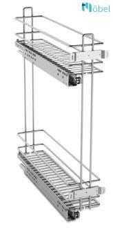 COMPAGNUCCI MINI kamravasalat 200 mm-es szekrénybe, SLOWMOTION, 2 polcos, króm